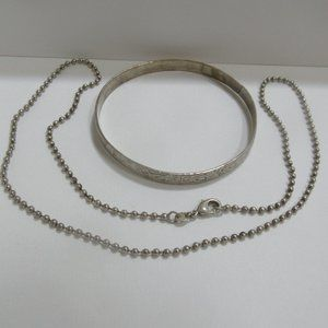 """925 sterling silver 21"""" chain and bangle lot:"""
